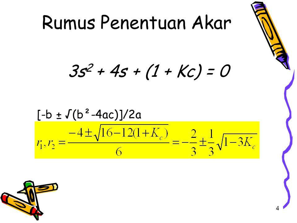 Rumus Penentuan Akar 3s2 + 4s + (1 + Kc) = 0 [-b ± √(b²-4ac)]/2a